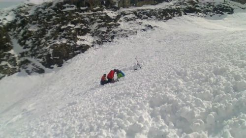 Chute at Courchevel 1850 extreme skiing Crazy skier drop in A to Z 20/03/2016