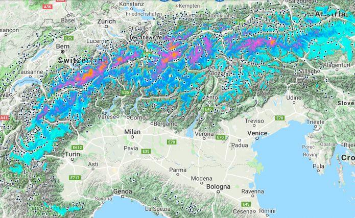 Nei prossimi 5 giorni possibili accumuli fino a un metro di neve sulle Alpi