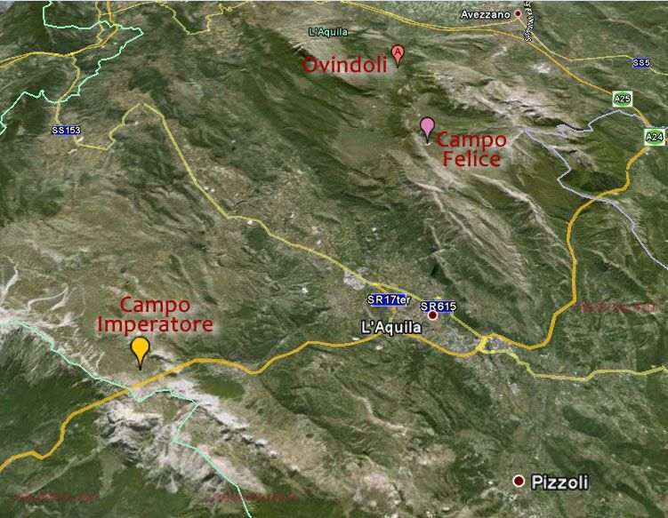 Mappa Ovindoli Campo Felice Campo Imperatore