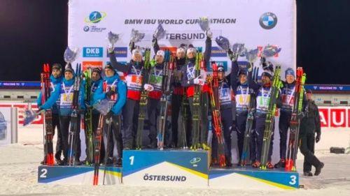 Biathlon: gli azzurri in coro dedicano il podio a Montello
