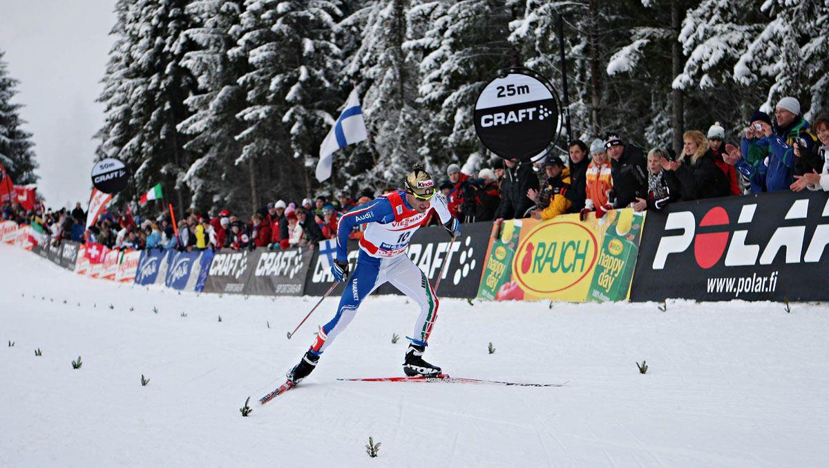 Arrivo di Giorgio di Centa - Edizione 2010 del Tour de Ski in val di Fiemme © Newspower Canon