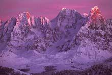 tramonto rosa sulle pale a 23 km da Predazzo val di fiemme