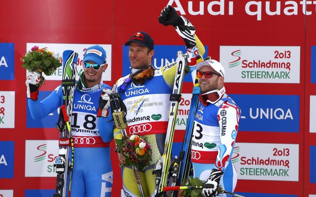 Dominik Paris Medaglia d'argento Aksel Lund Svindal medaglia d'oro David Poisson Medaglia di bronzo in discesa libera Schladming, Austria, 9 Febraio 2013.  credit: Pentaphoto/Marco Trovati
