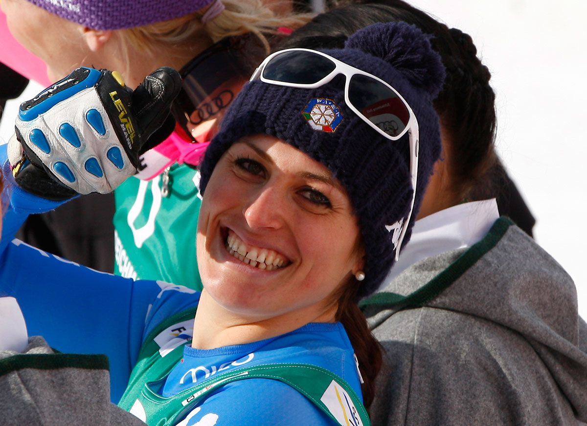 Nadia Fanchini medaglia d' argento in discesa libera Schladming, Austria, 10 Febraio 2013.  credit: Pentaphoto/Marco Trovati