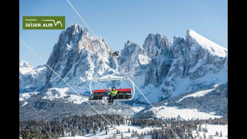 The ski resort Seiser Alm with 21 cable cars and lifts for safe transportation