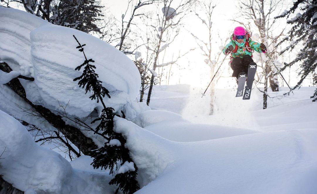 Professional female skier Ingrid Backstrom skiing in hokkaido Japan. www.robinoneillphotography.com