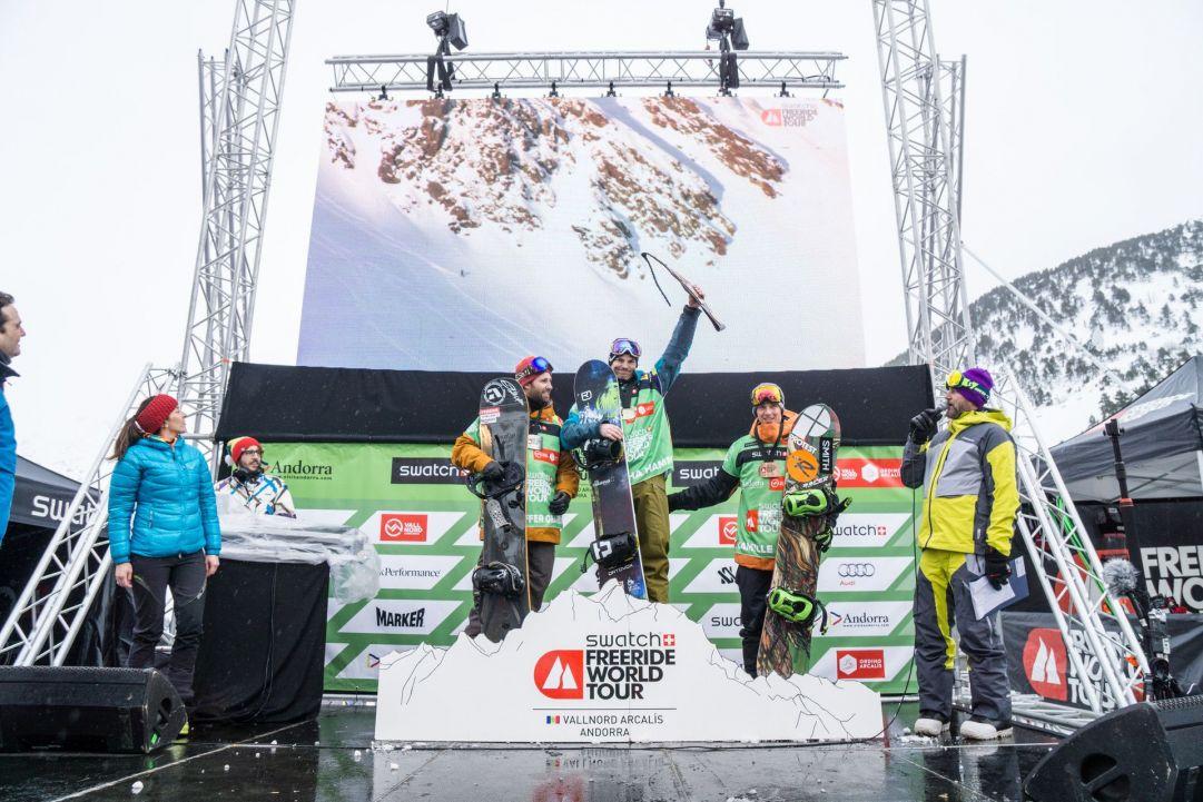 Il podio dello snowboard maschile
