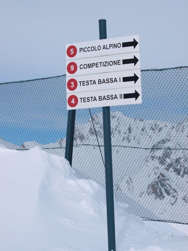 Dai 2450 metri partono anche le piste rosse che riportano alla partenza della seggiovia Testa Bassa; proseguendo verso est si incontra la rossa Piccolo Alpino.