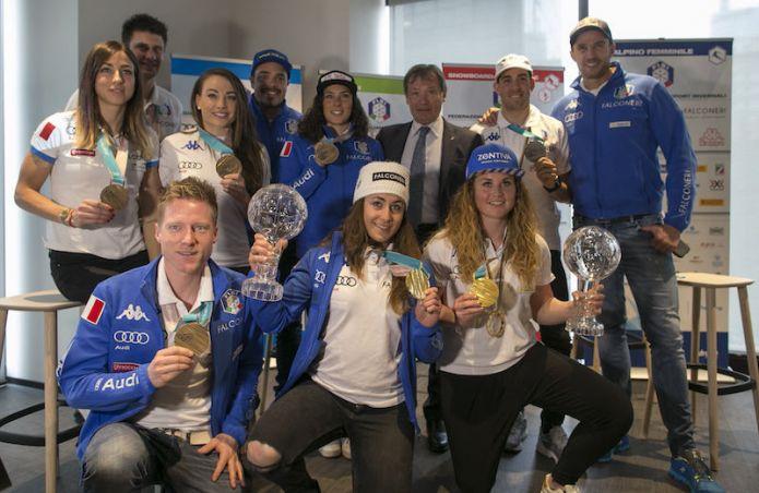 Il Media Day di Milano celebra gli azzurri FISI medagliati olimpici e vincitori di coppe di specialità
