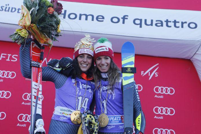 Brignone: 'Il podio con una compagna di squadra era il mio sogno' Bassino: 'Contenta per me e per la squadra'