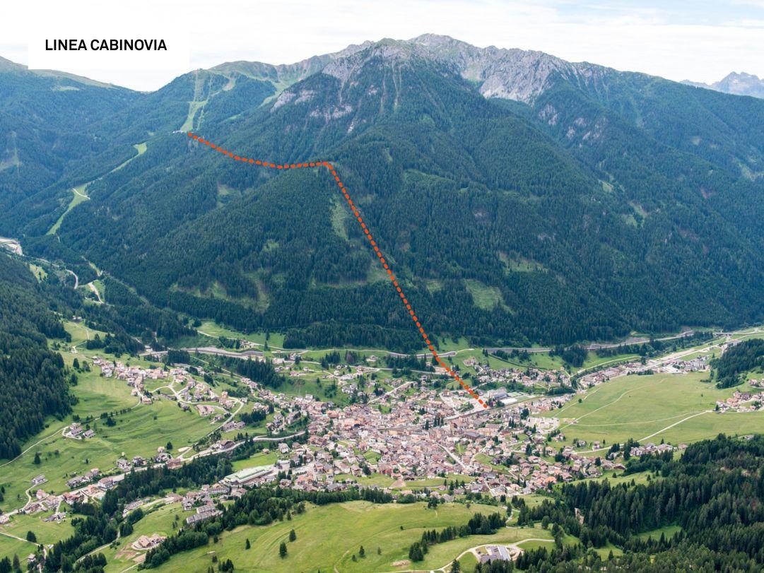 La linea della nuova Cabinovia di Moena prevista per il 2019