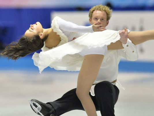 Madison Chock (left) and Evan Bates of the USA perform in free dance at the World Team Trophy figure skating competition in Tokyo on Friday.(Photo: Kazuhiro Nogi, AFP/Getty Images)