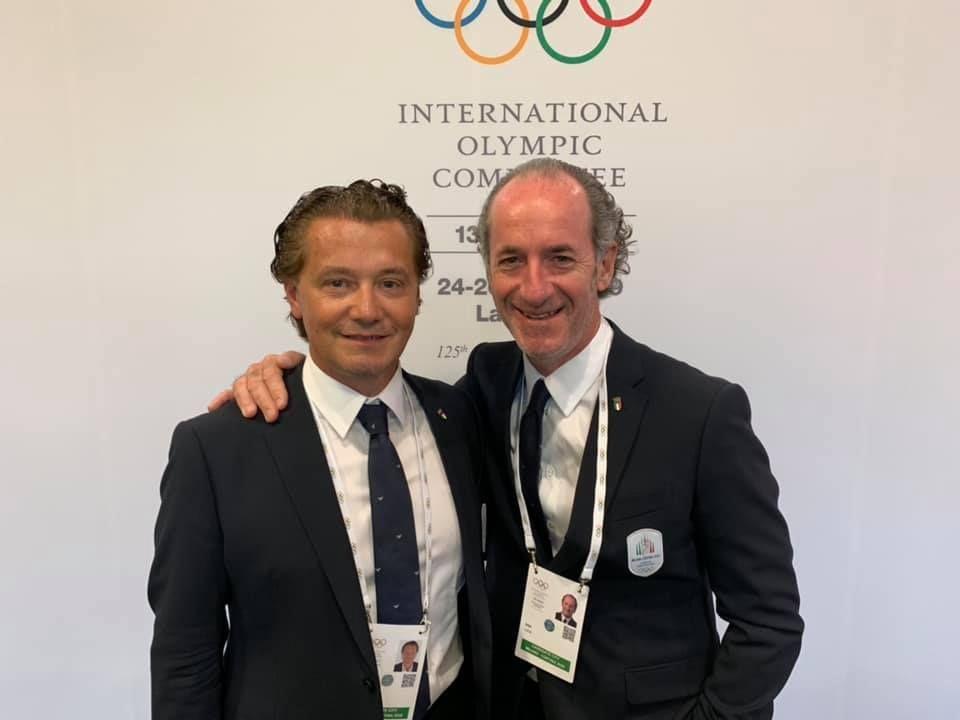 All'importante sessione del Cio non potevano mancare il Sindaco di Cortina Giampietro Ghedina (a sinistra) ed il Governatore del Veneto Luca Zaia (a destra)