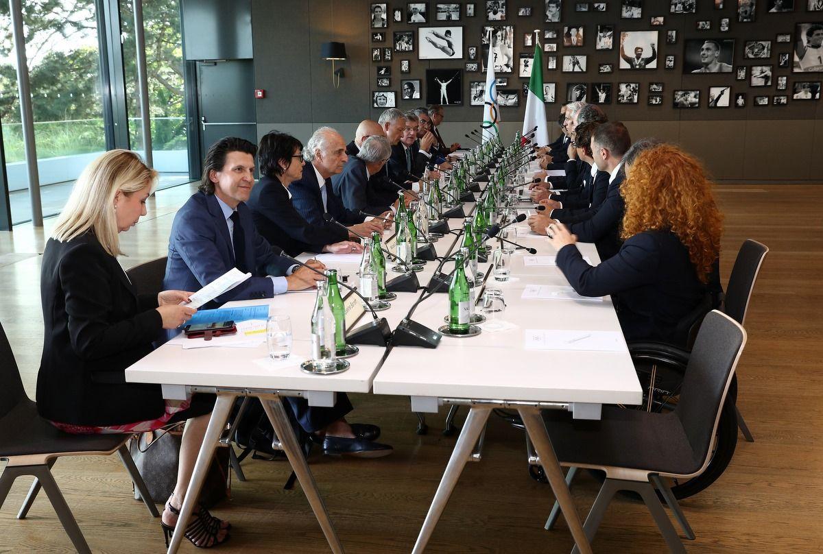 Quest'oggi la delegazione italiana è stata ricevuta dal Presidente del Cio Bach per una prima seduta