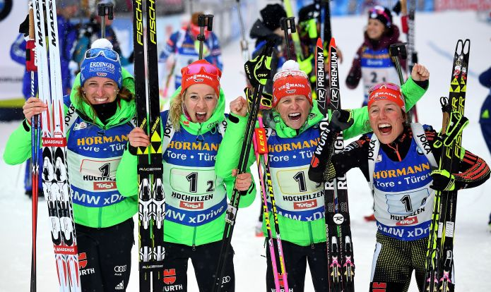 La Germania vince alla distanza la staffetta femminile dei Mondiali di Hochfilzen. Amaro 5° posto per l'Italia