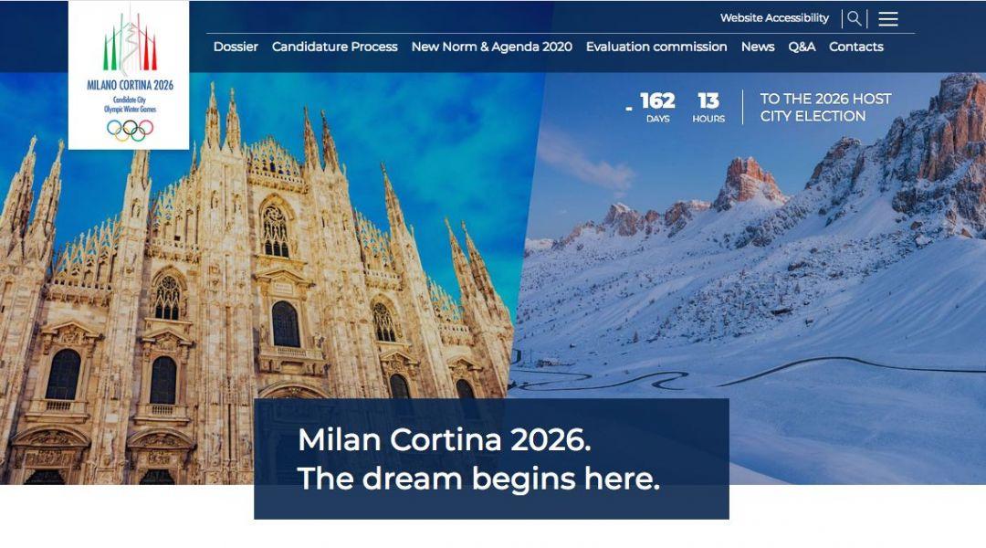 On-line il sito della candidatura italiana Cortina-Milano 2026