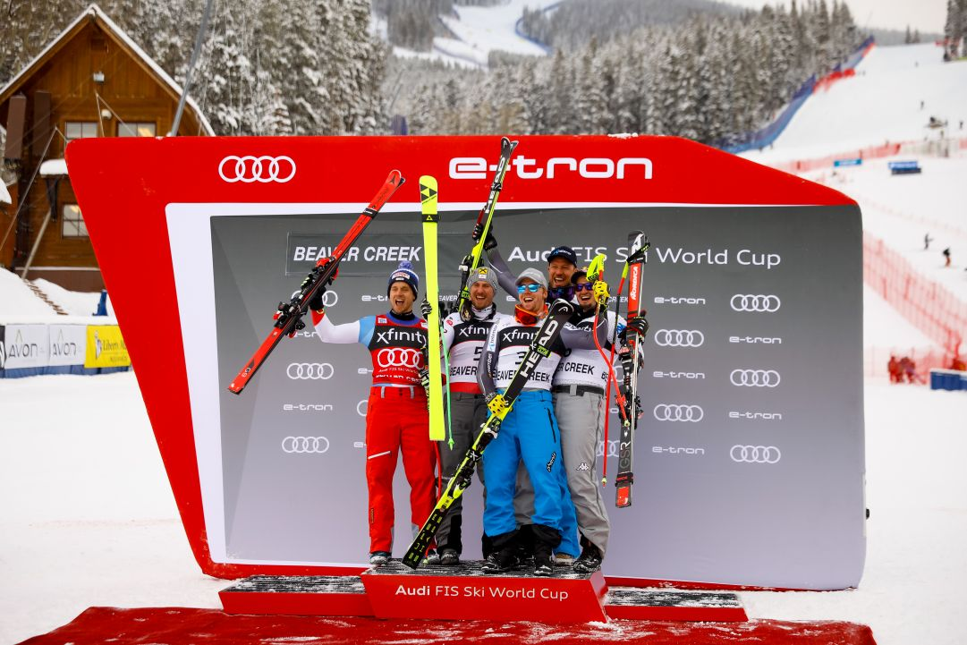 BEAVER CREEK, CO - DECEMBER 1:  (L-R) Mauro Caviezel of Switzerland in second place, Max Franz of Austria in first place, Aleksander Aamodot Kilde of Norway in third place, Aksel Lund Svindal of Norway in third place and Dominik Paris of Italy in third place celebrate on the podium during the Audi FIS Alpine Ski World Cup Men's Super G on December 1, 2018 in Beaver Creek, Colorado. (Photo by Justin Edmonds/Getty Images)