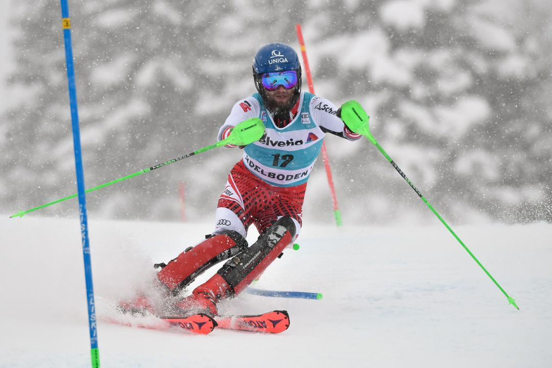 ADELBODEN, SWITZERLAND - JANUARY 13 : Marco Schwarz of Austria competes during the Audi FIS Alpine Ski World Cup Men's Slalom on January 13, 2019 in Adelboden Switzerland. (Photo by Alain Grosclaude/Agence Zoom/Getty Images)