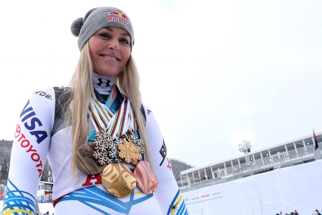 ARE, SWEDEN - FEBRUARY 10: Lindsey Vonn of USA celebrates during the FIS World Ski Championships Women's Downhill on February 10, 2019 in Are Sweden. (Photo by Christophe Pallot/Agence Zoom/Getty Images)