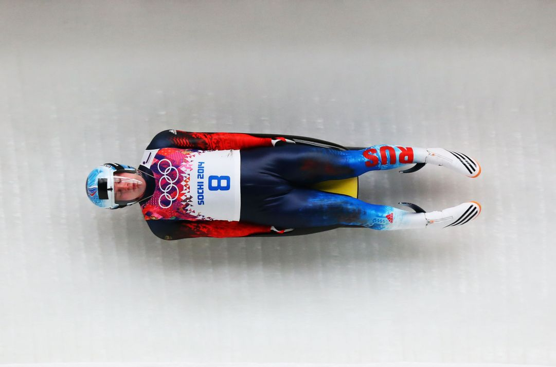 during the Luge Men's Singles on Day 1 of the Sochi 2014 Winter Olympics at the Sliding Center Sanki on February 8, 2014 in Sochi, Russia.
