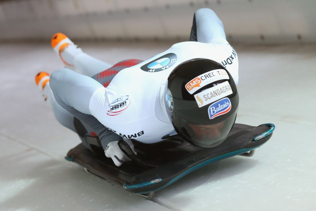 of competes at Deutsche Post Eisarena Koenigssee during the BMW IBSF World Cup Skeleton on January 19, 2018 in Koenigssee, Germany.