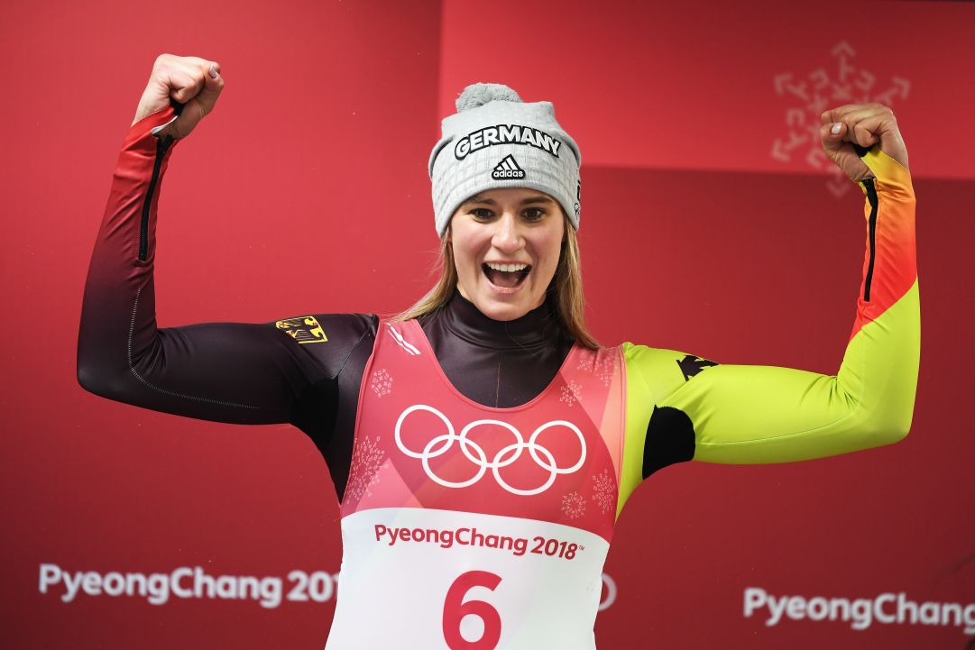 during the Luge Women's Singles on day four of the PyeongChang 2018 Winter Olympic Games at Olympic Sliding Centre on February 13, 2018 in Pyeongchang-gun, South Korea.
