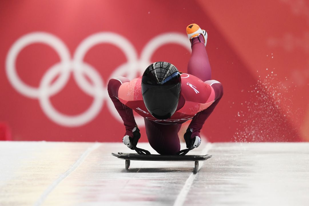 during the Men's Skeleton heats at Olympic Sliding Centre on February 16, 2018 in Pyeongchang-gun, South Korea.