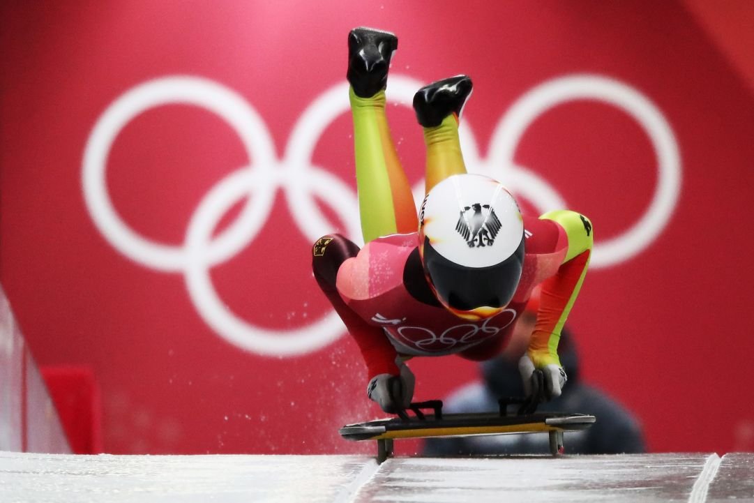 during the Women's Skeleton on day eight of the PyeongChang 2018 Winter Olympic Games at Olympic Sliding Centre on February 17, 2018 in Pyeongchang-gun, South Korea.