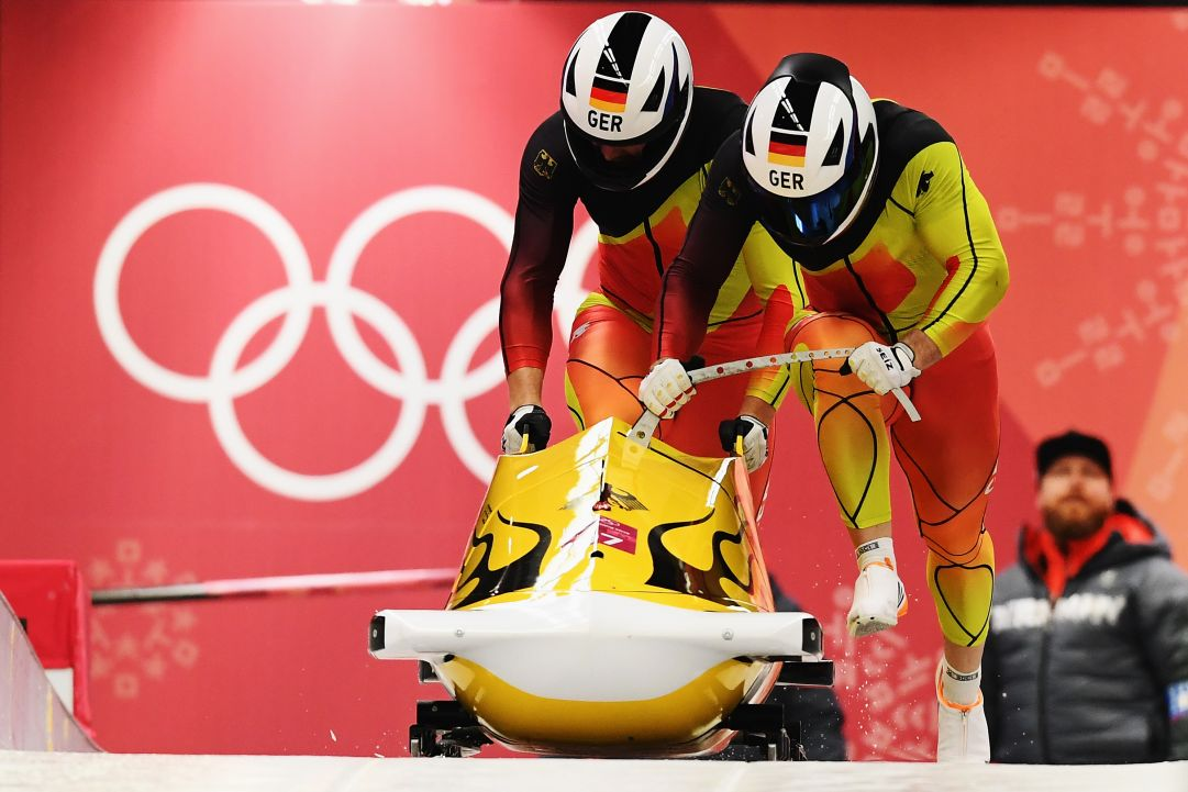 during the Men's 2-Man Bobsleigh on day 10 of the PyeongChang 2018 Winter Olympic Games at Olympic Sliding Centre on February 19, 2018 in Pyeongchang-gun, South Korea.