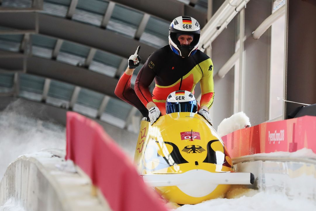 during 4-man Bobsleigh Heats on day fifteen of the PyeongChang 2018 Winter Olympic Games at the Olympic Sliding Centre on February 24, 2018 in Pyeongchang-gun, South Korea.
