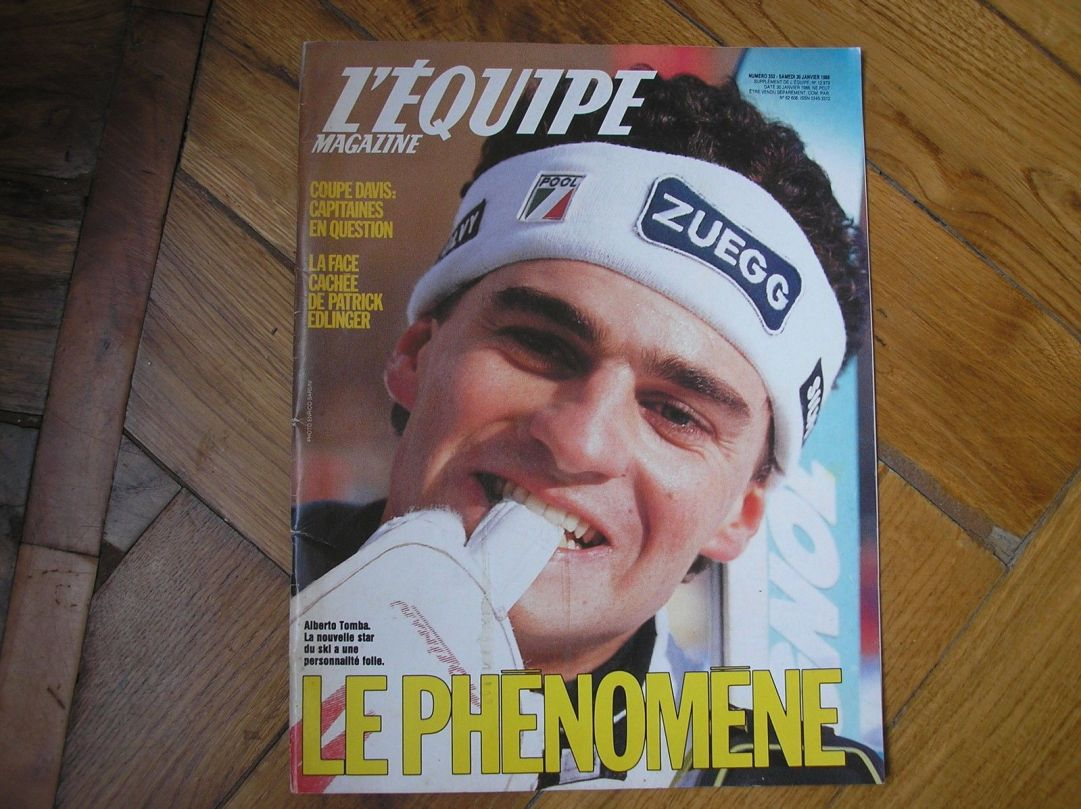 La fama di Alberto Tomba era talmente tanta che persino il noto quotidiano francese L'Equipe gli dedicò una copertina