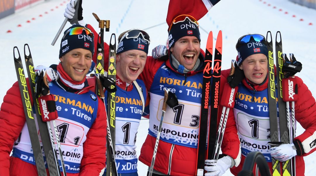 La Norvegia si impone nella staffetta maschile di Ruhpolding, Italia 7a
