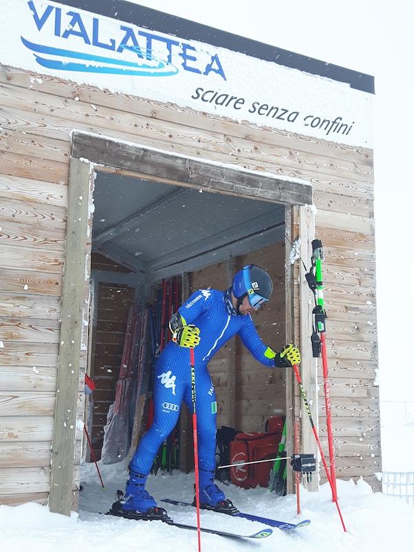 Slalomgigantisti di Italia, Svizzera e Francia in allenamento al Sestriere