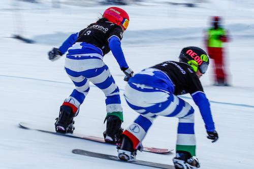 Michela Moioli seconda e Raffaella Brutto terza nelle qualificazioni dello snowboard cross di Coppa del Mondo di Cervinia