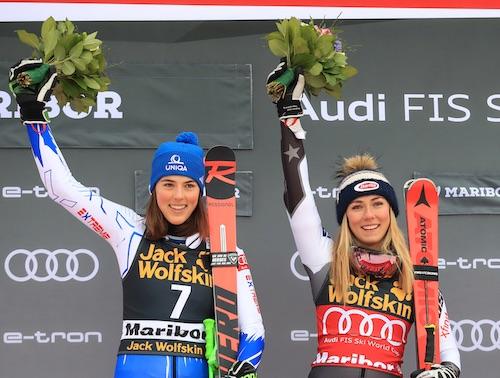 Mikaela Shiffrin e Petra Vlhova vincono ex-aequo il gigante di Maribor!