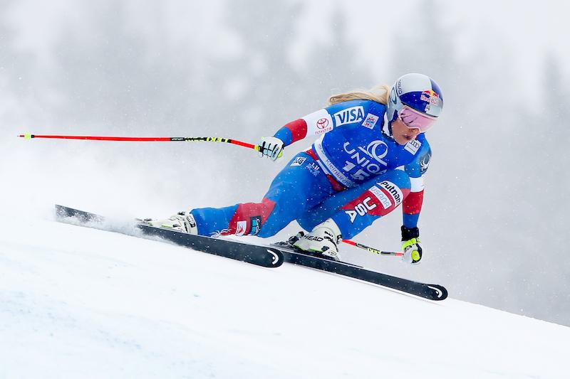 Lindsey Vonn subito davanti nella prima prova di Cortina d'Ampezzo