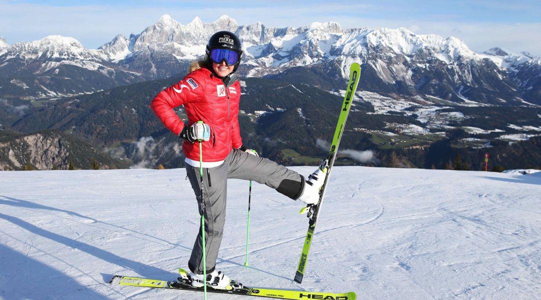 Cornelia Huetter è tornata sugli sci a Reiteralm, ma il rientro in Coppa è ancora lontano