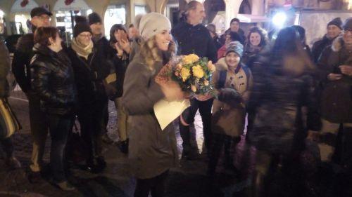 Borgo San Dalmazzo in festa per Marta Bassino: 200 persone hanno accolto l'azzurra dopo la prima vittoria