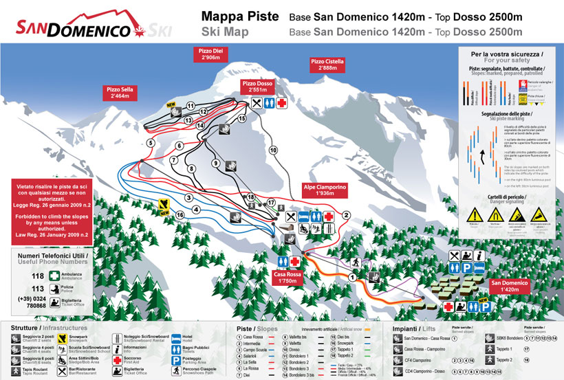 Cartina Piste e Impianti San Domenico