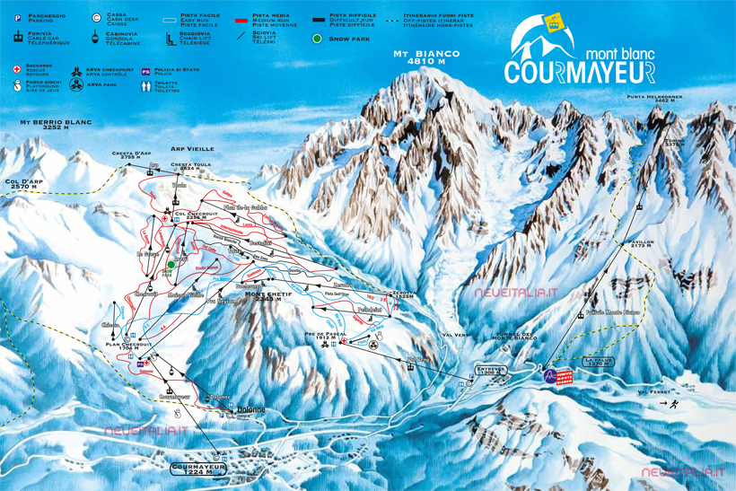 Cartina Piste e Impianti Courmayeur